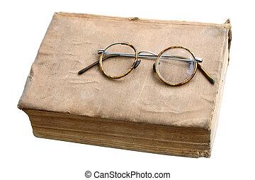 oud, boek, met, antieke , bril