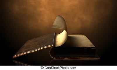 oud, boek, met, het wegknippen, pagina's, wi