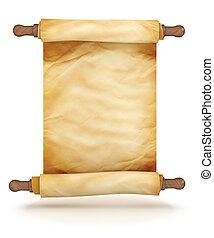 oud, boekrol, perkament