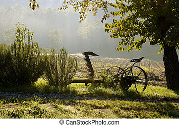 oud, boerderij, machine