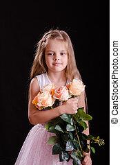 oud, bouquetten, verdrietige , vijf, jaar, meisje, bloemen