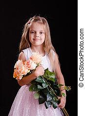 oud, bouquetten, vijf, jaar, meisje, bloemen, vrolijke