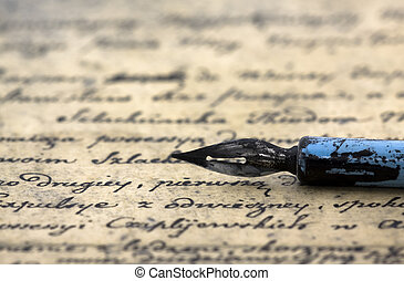 oud, brief, en, pen