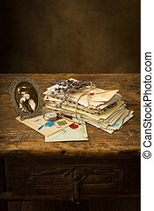 oud, brieven, lavendel