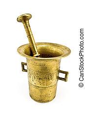 oud, brons, vijzel, met, stamper