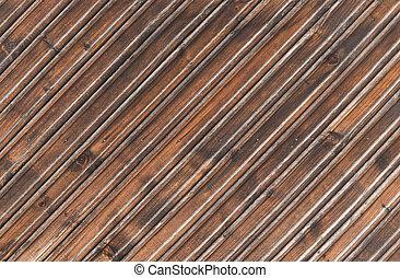 oud, bruine , houten raad, achtergrond, textuur, oud, schillen, houten hek, voor, designers.