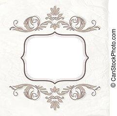 oud, classieke, effect., ouderwetse , damast, textuur, uitnodiging, elegant, vector, papier, achtergrond, floral, ornaments., spandoek, of, kaart