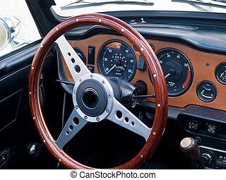 oud, classieke, ouderwetse , sportautootje, dashboard