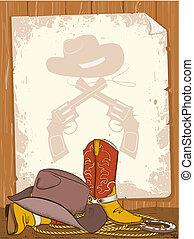 oud, cowboy, tekst, laarzen, amerikaan, papier, achtergrond