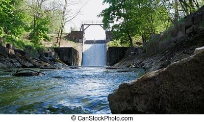 oud, dam., spillway, op, de, river., de, stroom, van, water,...