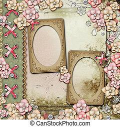 oud, decoratief, gedenkboek dek