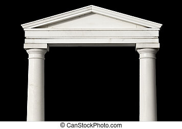 oud, detail, griekse , reproductie, stuk, tempel