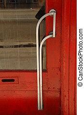 oud, deur, en, handvat