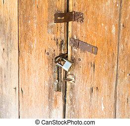 oud, deur, met, nieuw, lock.