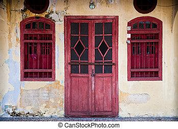 oud, deur, rood