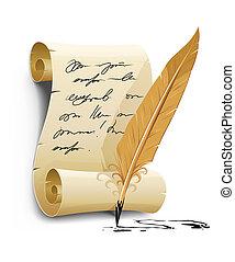 oud, draaiboek, werktuig, schrijvende , inkt, veer