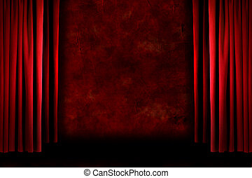oud, drapes, fashioned, grungy, rood, toneel