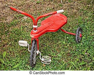 oud, driewieler, speelbal, ouderwetse , gras, rood