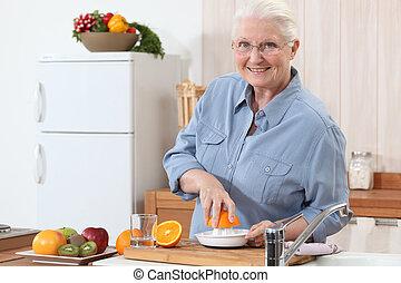oud, dringend, dame, oranges.