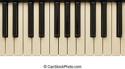oud, een beetje, yelow, pianotoetsenbord