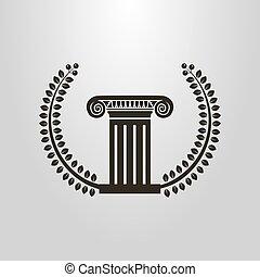 oud, eenvoudig, symbool, zuil, vector, laurier