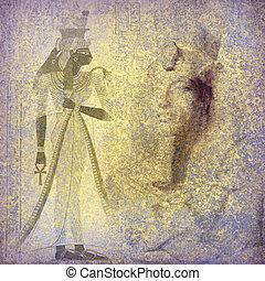oud egypte, koningin, hieroglyphics, nefertiti, behang