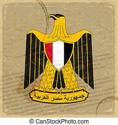 oud, egyptisch, jas, armen, papier, blad