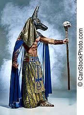 oud, egyptisch, pharaoh, beeld, masker, gezicht, zijn, man