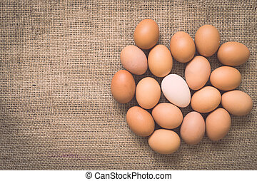 oud, eitjes, burlap, verfrommeld