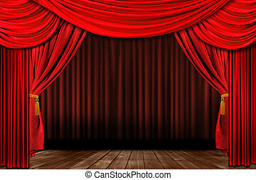 oud, elegant, dramatisch, fashioned, theater, rood, toneel