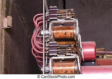 oud, elektrisch, case., artikelen & hulpmiddelen, closeup, verdeling