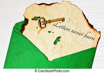 oud, enveloppe, brief