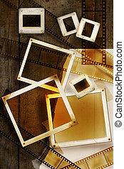 oud, film, en, foto's, op, verontruste, hout, panelen