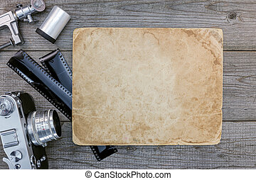 oud, film, van hout vensterraam, negatief, papier, fototoestel, retro, bureau, lenzen