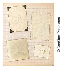oud, foto lijst in, en, wiskunde, boek, pagina