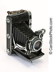 oud, fotocamera, op wit