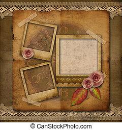 oud, fotokader, horloge, rozen, grunge, kant