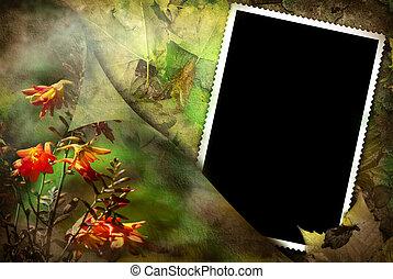 oud, fotolijst, op, floral, achtergrond
