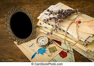 oud, frame, brieven, lege