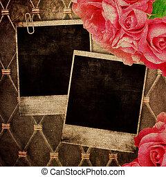 oud, frame, voor, foto, op, ouderwetse , achtergrond