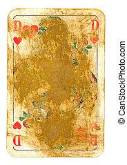 oud, gebruikt, speelkaart, hartenvrouw, vrijstaand, op wit