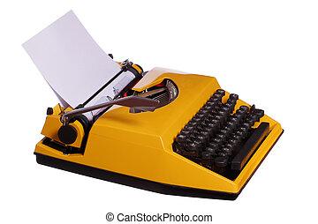 oud, gele, typemachine, met, papier