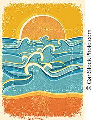 oud, gele, zand papier, zee, golven, strand, texture.