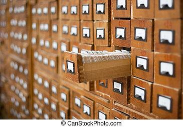 oud, geopend, houten, een, lade, catalogus, kaart