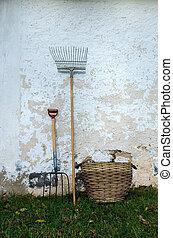 oud, gereedschap, tuin