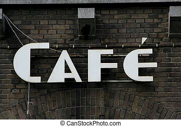 oud, geroeste, koffiehuis, meldingsbord