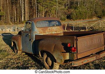 oud, geroeste, vrachtwagen