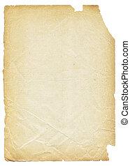 oud, gescheurd document, vrijstaand, op wit, achtergrond.