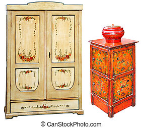 oud, geverfde, houten, kabinetten