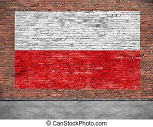 oud, geverfde, polen, muur, vlag, baksteen
